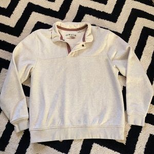 Orvis pullover sweater zip up ribbed collar